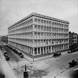 "John Kellum - For A.T. Stewart Kellum's cast-iron ""Palace"", (1859-62), occupied a full block at Broadway and 10th St."