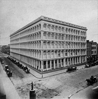 "Alexander Turney Stewart - A. T. Stewart's cast-iron ""Palace"", built in 1862, occupied a full block at Broadway and 10th St."