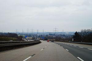 Die A 44 westlich des Kreuz Dortmund/Witten