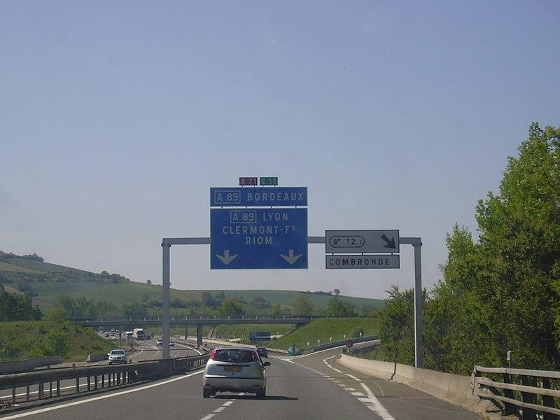Sortie 12.1 (Combronde), en direction de Clermont-Ferrand.