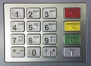 An ATM Encrypting PIN Pad (EPP) with German markings