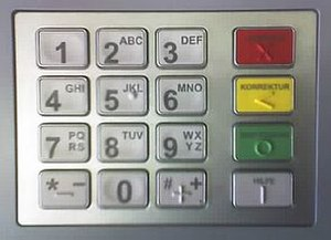 PIN pad - A PIN pad on a German ATM