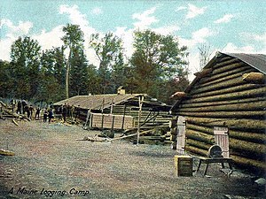 Lumberjack - A Maine logging camp in 1906.