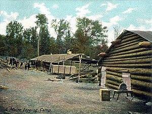 Lumberjack - A Maine logging camp in 1906.