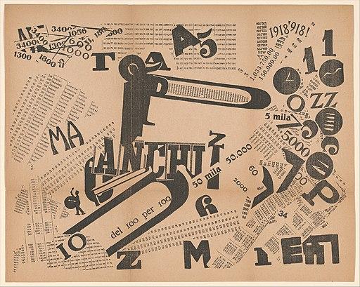 A Tumultuous Assembly. Numerical Sensibility (Une Assemblée tumultueuse. Sensibilité numérique) published in Les mots en liberté futuristes MET DP371750