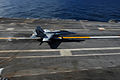 A U.S. Navy F-A-18C Hornet aircraft assigned to Strike Aircraft Test Squadron (VX) 23, tests the Joint Precision Approach Landing System aboard the aircraft carrier USS Theodore Roosevelt (CVN 71) Nov. 11, 2013 131111-N-RZ218-017.jpg