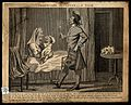 A man carrying a child's commode to a woman lying in bed who Wellcome V0020277.jpg