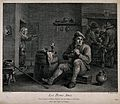 A man sits by a barrel-table smoking his pipe, behind others Wellcome V0019040.jpg