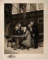 A pair of Pensioners, seated at a table, playing draughts, w Wellcome V0012943.jpg