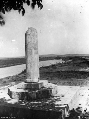 Battle of Jaffa (1917) - Memorial to the 155th (South Scottish) Brigade, with the river in the background