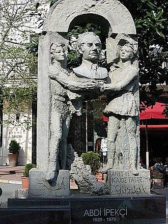 Abdi İpekçi Street - The memorial for Abdi İpekçi on the street.