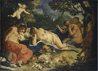 Diana and her nymphs spied on by satyrs