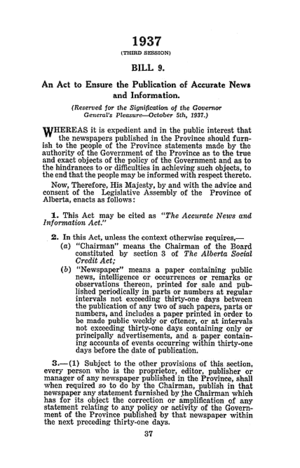 Accurate News and Information Act - The Accurate News and Information Act, including a note about the Lieutenant-Governor's reservation