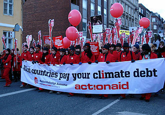 Ecological debt - Copenhagen Climate Summit in 2009 - Action Aid demonstration