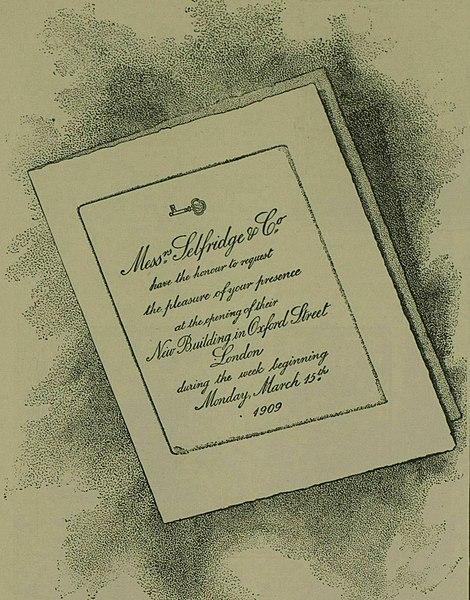 File:Ad for Selfridge store opening 1909.jpg