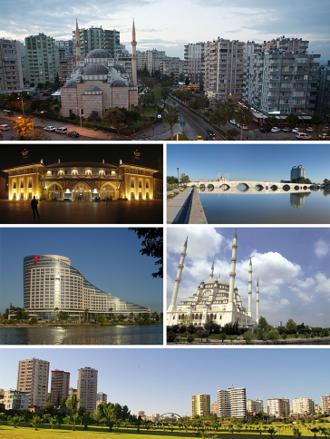 Adana - Top: A view from Çukurova, 1 st left: Adana station, 1st right:Taşköprü, 2nd left: Sheraton Adana, 2nd right: Sabancı Central Mosque, Bottom: White Houses neighborhood.