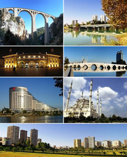 1st left: Varda Viaduct, 1st right: Dilberler Sekisi Park in Seyhan, Adana, 2nd left: Adana station, 2nd right: Taşköprü, 3rd left: Sheraton Adana, 3rd right: Sabancı Central Mosque, 4th bottom: White Houses neighborhood in Adana.