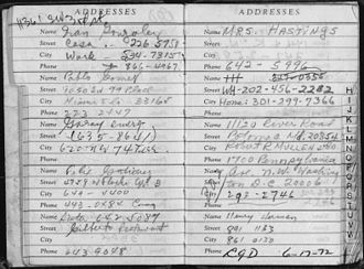 Bernard Barker - Address Book of Bernard Barker, discovered in a room at the Watergate Hotel, June 18, 1972