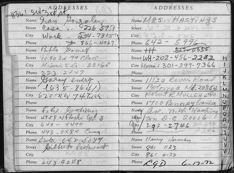Address Book of Watergate Burglar Bernard Barker, Discovered in a Room at the Watergate Hotel, June 18, 1972 - NARA - 304966
