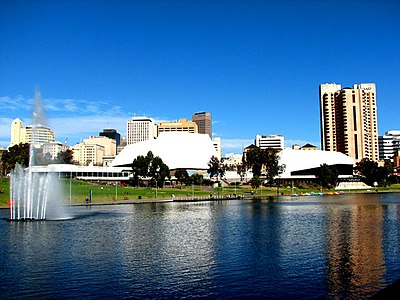 Adelaide Festival Centre from the north bank of the River Torrens.
