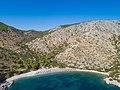 Aerial view of St Nikolaos Beach Hydra (43058411760).jpg