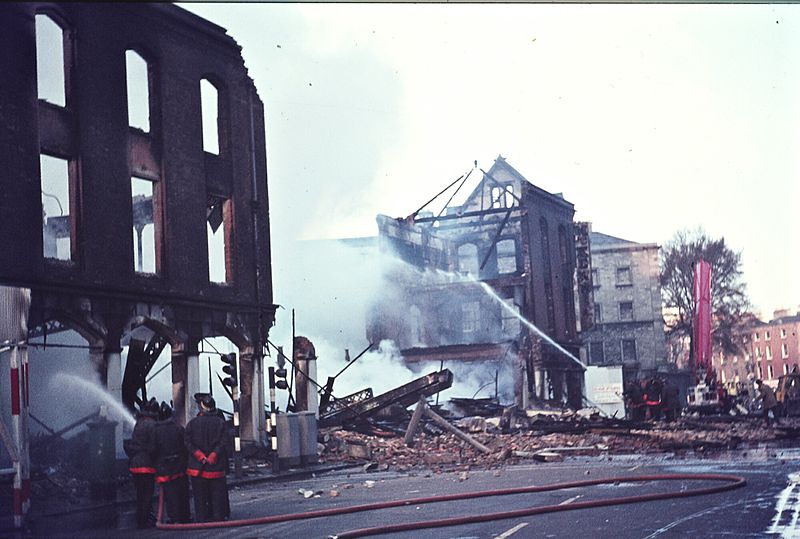 Aftermath of a huge fire at Thomas McKenzie %26 Sons Ltd. on Pearse Street, Dublin.jpg