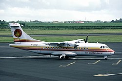 Air Guadeloupe ATR 42 at Pointe-a-Pitre in December 1986.jpg