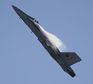 A Hornet performing a high-g pull-up during an...