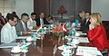 Ajit Singh and the Federal Minister of Transport, Innovation and Technology, Austria, Mrs. Doris Bures, at the delegation level talks to enhance the bilateral cooperation in Civil Aviation sector, in New Delhi.jpg