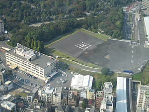 Roppongi - US Army heliport and Stars and Stripes office in Roppongi-Nanachōme