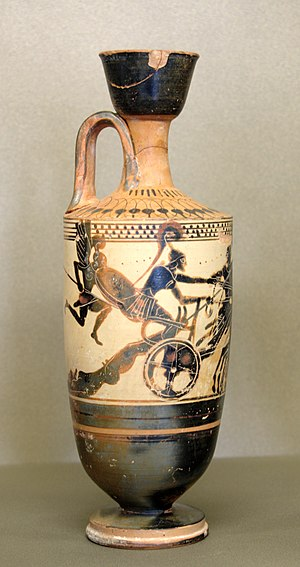 Lekythos - Attic white ground lekythos, c. 490 BC, Achilles dragging the body of Hector