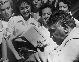 Albert Namatjira - Namatjira signing autographs, c. 1950