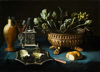 Alexander Adriaenssen - Still life with artichokes in a silver gilt wine cistern and other silver objects