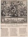Allegorie ter ere van Michiel de Ruyter en Cornelis Tromp en hun overwinningen in de zeeslagen in de jaren 1672 en 1673 Nederlantsche Zeetriomf, ter eeren der dappere Helden, Michaël de Ruiter en Kornelis Tromp, overwin, RP-P-BI-6843.jpg