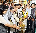 Alphons Kannanthanam along with the Minister of State for Culture (IC) and Environment, Forest & Climate Change, Dr. Mahesh Sharma lighting the lamp to inaugurate the Indian Culinary Institute (ICI), Noida campus.JPG