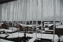 Roof icicles, as seen from upper window