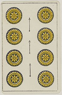 Aluette card deck - Grimaud - 1858-1890 - Eight of Coins.jpg