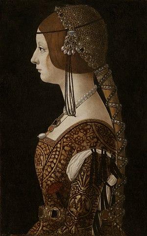 Bianca Maria Sforza - Portrait by Ambrogio de Predis, c. 1493
