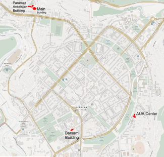 locations of aua buildings in central yerevan