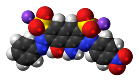 Space-filling model of the amido black 10B molecule