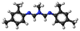 Ball-and-stick model of the amitraz molecule