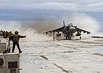 An AV-8B Harrier launches off the flight deck of USS Wasp. (31391542020).jpg