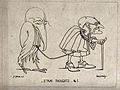 An old man leading a bird with a long beak Wellcome V0049757.jpg