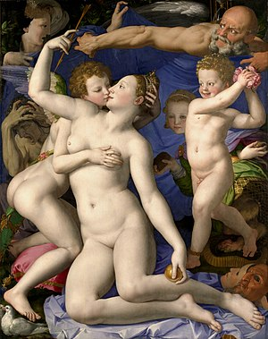 1545 in art - Image: Angelo Bronzino Venus, Cupid, Folly and Time National Gallery, London