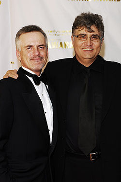 Rob Paulsen and Maurice LaMarche together at the 34th Annual Annie Awards red carpet.