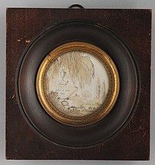 Haarschilderij, miniatuur ter herinnering aan de begrafenis van J van der Pot