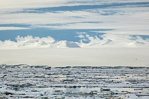 Ice shelf - Ice shelf extending approximately 6 miles into the Antarctic Sound from Joinville Island