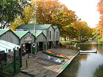 Avon River (Canterbury) - Boat sheds on the Avon, Christchurch