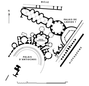 Palace of Lausus - Outline of the Palace of Antiochos. Its northern wing is often identified as the Palace of Lausus.