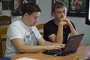 Anton and Taras leading wiki workshop in Kolomyia.jpg